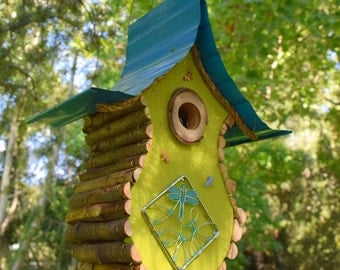 Bird house, Birdhouse, Dragonfly Birdhouse, garden art, gift, nesting box, custom birdhouse