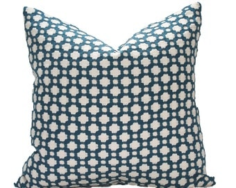 Decorative Schmacher Betwixt, Geometric, Indigo, 18x18, 20x20, 22x22 or Lumbar Throw Pillow