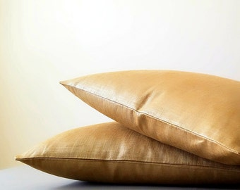 Metallic Linen Solid Pillow- Gold metallic pillow cover - Metallic gold pillow covers- Select your personal pillow size during checkout -