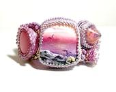 Mermaid Bracelet - Bead Embroidered Bracelet - Sea Side Bracelet - Sea Themed Jewelry - Ocean Jewelry - Beachy Bracelet - Beaded Jewelry