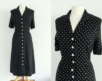 Vintage 1980s Black & White Polka-dot Tea Dress EU 40 UK 12 Retro