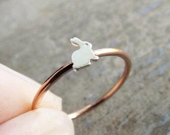 Bunny Ring, Little Bunny, Bunny Rabit Ring, Rabbit Rings, Gift, White Rabbit Ring, Silver Bunny, Stacking Ring, Simple Ring, Minimalist