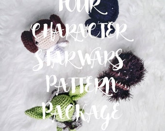 Amigurumi Discount Pattern Package - ALL FOUR CHARACTERS- Amigurumi Star Wars -Crochet Star Wars Pattern-
