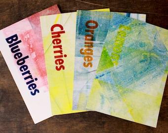 """Letterpress Postcard Set """"Summer wine"""". Set of 4 hand printed postcards."""