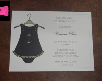 INVITATION - Nautical Baby Shower or Birthday Party for a girl - Cute outfit on a hanger! All wording, fonts, and font colors Customized