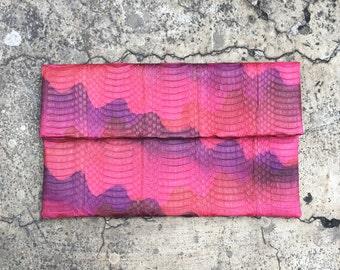 Neon Pink Python Cobra Ayers Snakeskin Leather Clutch Bag