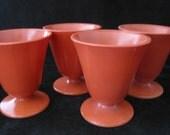 RESERVED for Karen.... 1950s Burnt Orange Hazel Atlas Ovide Footed Sundae Cups Moderntone Sierra Collection Set of 4
