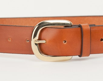 Tan Bridle Leather Belt with 1.5 inch Horseshoe Buckle