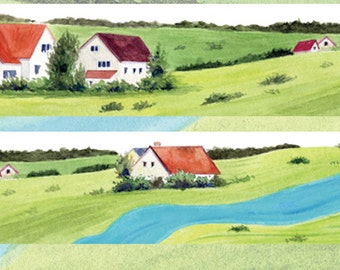 1 Roll Limited Edition Washi Tape: Pastoral Landscape