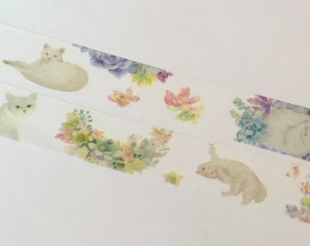 1 Roll Limited Edition Washi Tape:  Cat and Plants