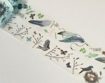 1 Roll of Limited Edition Washi Tape (Pick 1) : Colorful Feathers or Bird and Bird Nest
