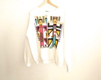 90s BEDAZZLED ikat southwest VINTAGE kachina southwest sweatshirt