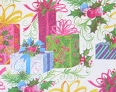 Vintage CHRISTMAS Gift Wrap - Wrapping Paper - Colorful PRESENTS - with Coordinating Gift Tag - 1960s