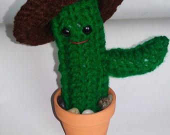 Hank the Kawaii Cowboy Cactus crochet amigurumi pin cushion
