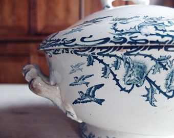 French soup tureen, antique french soup tureen, Longwy soup tureen, bird decor