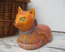 Paper mache cat, sweet orange purple striped cat, feline with purple bow, 1970's look