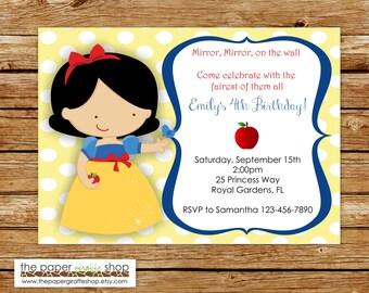 Snow White Invitation | Snow White Birthday Party | Princess Invitation | Princess Party | Snow White Party