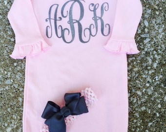Newborn take home outfit- Newborn Monogram Layette Gown -Personalized Baby Girl Clothes Layette Gown and Personalized Hat New Baby Girl Gift