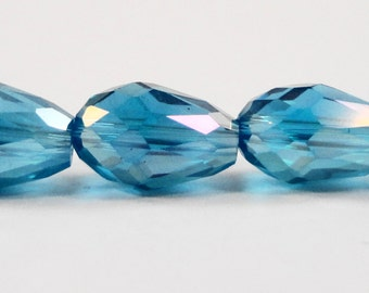 """Faceted Teardrop Beads 11x8mm Aqua Blue AB Crystal Beads, Teardrop Crystal Beads Chinese Crystal Drop Beads on a 6 3/4"""" Strand with 15 Beads"""