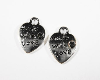Love heart pendant etsy made with love charms 12x8mm antique silver heart charms made with love heart pendants small heart mozeypictures Images