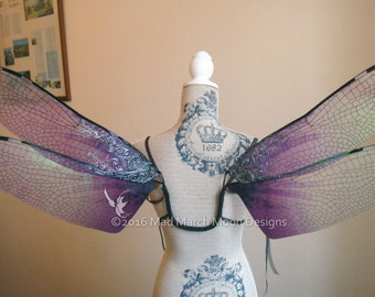 Gothic Dragonfly Iridescent Large Fairy Wings, Adult size wearable fairy wings, poseable fairy costume wings, various colours available