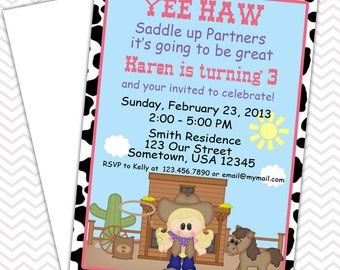 Cowgirl Invitations PRINTABLE - Birthday Party - Baby Shower