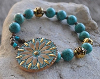 Hand Knotted Turquoise Howlite Czech Glass Button Gold Stacking Boho Bracelet