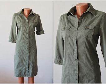 Button Vintage COTTON Dress Army Green Tunic Denim Daydress Olive Sport Casual Midi Safari Sundress Size M 36-38
