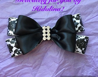 black and white damask hair bow