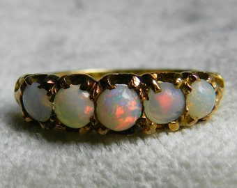 Opal Ring 18K Gold Victorian Opal Ring 1800s Opal Wedding Band Red Opal Stack Ring Stacking Antique Ring Gold October Birthday