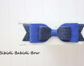 Felt bow headband- Glitter Navy blue bow- Girl headband- infant headband- Baby girl headband- Gift- Toddler headband -Hair accessory