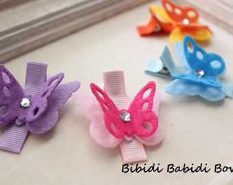 Felt butterfly Hair Clips- Set of 4 hair clips- Purple, Pink, Blue, Orange - Hair accessory - Toddler hair clip- Baby girl hair clip