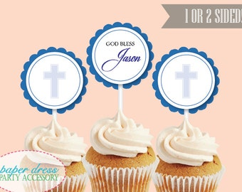 Set of 6 Personalized Blue Religious Baptism Christening Confirmation Cupcake Topper Dessert Topper