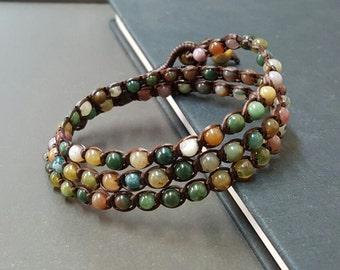 Handmade Triple Wrap Jasper Bracelet Anklet