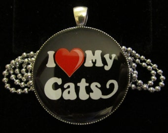I love my Cats Necklace-Kitty Cat kitten Jewelry-Handmade Resin Pendant Jewelry
