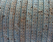 1M/ 39 in - Stitched Flat cork Leather cord light blue - 5mm x 2mm (European product) REF-160
