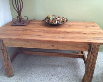 Coffee Table Pecky Cypress W Vineyard Post Legs