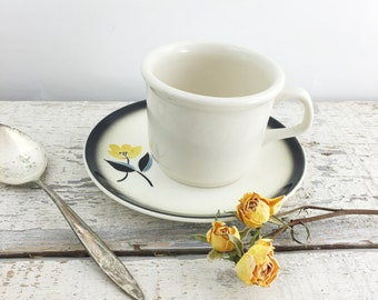 Pretty Vintage Stoneware Black and Yellow Cup and Saucer Set
