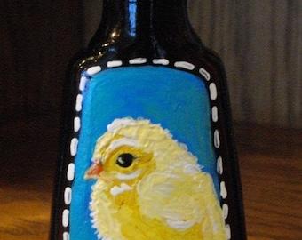 BABY CHICK Hand Painted Vanilla Bottle