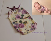 Newborn baby girl romper - lilac flowers Baby girl Photography prop - clearance sale - ready to ship