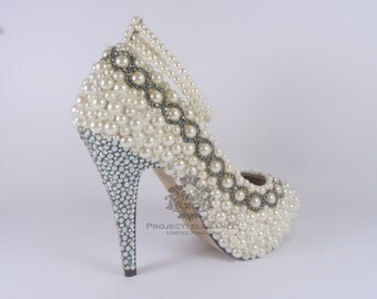 """Lola- Ivory Pearl, Gold or Silver Crystal - flat, 1 2,3,4"""" Inch Stiletto Low Mid High Heel Shoes"""