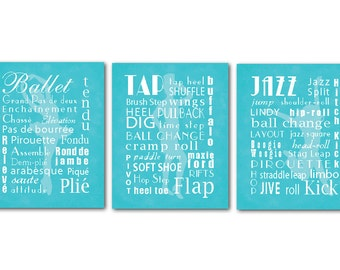 Kid's Room Decor - Wall Art Trio - Ballet Tap Jazz Typography Art -Three prints - Dancer silhouettes - Word Art - Girl's Room Wall Art