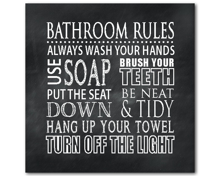 Bathroom wall art modern wall decor bathroom rules print for Bathroom decor rules