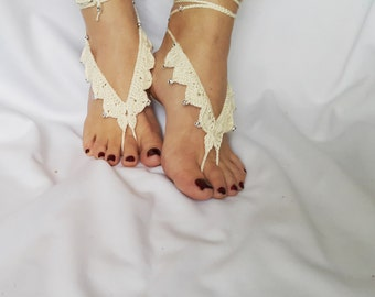 Ivory Barefoot Sandals, Beach Pool,Nude shoes,Foot jewelry, Bridal Sandals, Destination Weddings, Beach Sandals, FlowerGirl