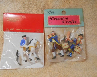 Two Plastic Miniature 4th Of July Figures-Old Store Stock