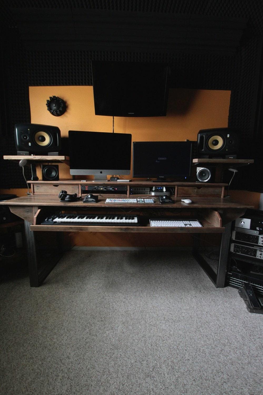 reclaimed composer studio desk for audio video film