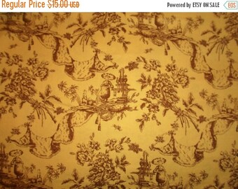 """ON SALE David Textiles Inc. Fabric, 42"""" wide by 56"""" long, Cotton, Toile,Twall, Asian, Brown,  Flowers, Supplies"""