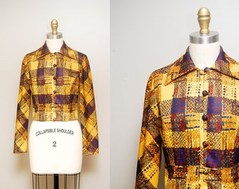 Vintage 60s 'Leslie Fay' MOD Plaid Cropped Jacket / Tailored Button-up Bolero / Long Sleeves / Size Small