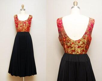 Vintage 1940s Brocade Evening Dress / 40s Oriental Cocktail Dress / Sleeveless / Medium