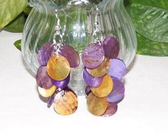 Purple/Gold Shell Dangle Earrings